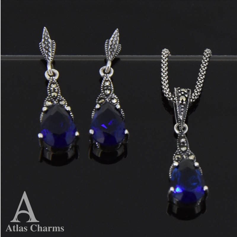 925 Sterling Silver Earrings Sapphire Pendant Necklace jewellery Sets Wedding Free Gift Box
